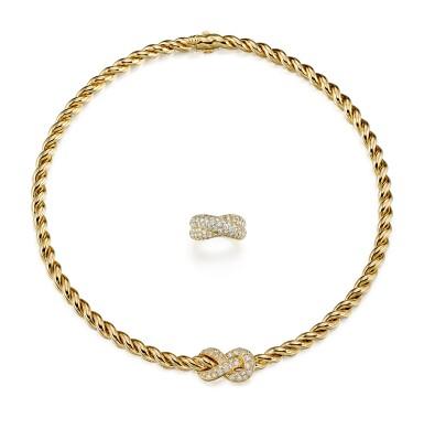 View 1. Thumbnail of Lot 9175.  GOLD AND DIAMOND DEMI PARURE, VAN CLEEF & ARPELS | K金 配 鑽石 項鏈及戒指套裝, 梵克雅寶(Van Cleef & Arpels).