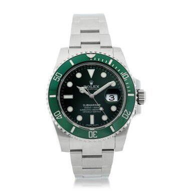 View 1. Thumbnail of Lot 7. REFERENCE 116610LV SUBMARINER 'HULK' A STAINLESS STEEL AUTOMATIC WRISTWATCH WITH DATE AND BRACELET, CIRCA 2020.