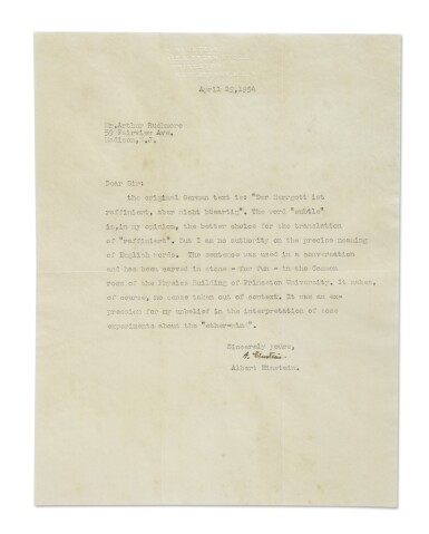 """View 1. Thumbnail of Lot 18. EINSTEIN, ALBERT 