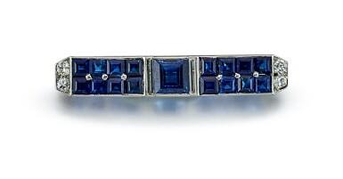 View 1. Thumbnail of Lot 9165.  ART DECO SAPPHIRE AND DIAMOND BAR BROOCH, CARTIER | Art Deco 藍寶石 配 鑽石 別針, 卡地亞(Cartier).