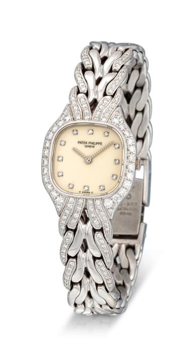 View 2. Thumbnail of Lot 8087. PATEK PHILIPPE | LA FLAMME, REFERENCE 4815/3 | A WHITE GOLD AND DIAMOND-SET BRACELET WATCH, CIRCA 1990 | 百達翡麗 | La Flamme 型號4815/ 3 白金鑲鑽石鏈帶腕錶,約1994年製.