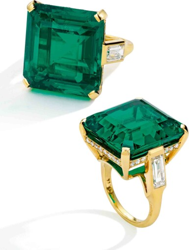 View 2. Thumbnail of Lot 105. Cartier [卡地亞] | A Superb Emerald and Diamond Ring [祖母綠配鑽石戒指].