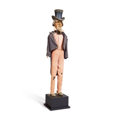 VERY RARE STANDING ARTICULATED FIGURE OF UNCLE SAM, ATTRIBUTED TO MECHANICAL ADVERTISING COMPANY, BOSTON, MASSACHUSETTS, CIRCA 1900