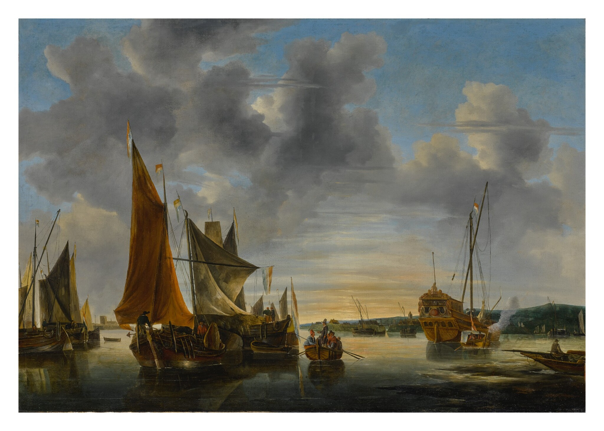 View full screen - View 1 of Lot 528. DUTCH SCHOOL, 17TH OR 18TH CENTURY | SHIPPING SCENE ON CALM WATER.