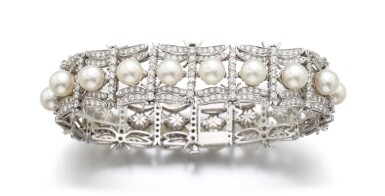 CULTURED PEARL AND DIAMOND BRACELET   TIFFANY & CO.
