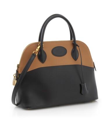 Black and orange brown leather with yellow hardware handbag, Bolide 31, Hermès, 2003