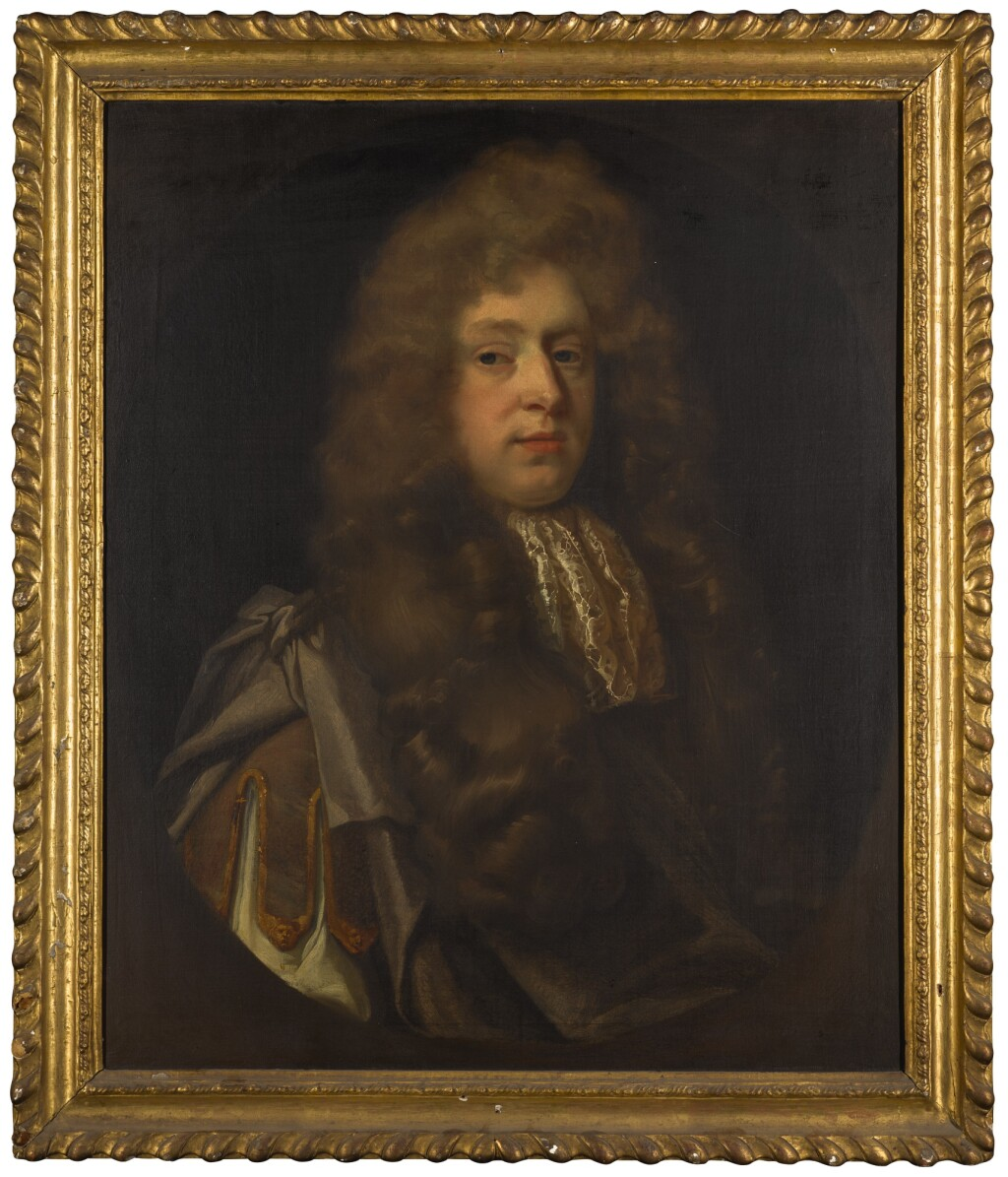 JOHN RILEY | Portrait of a gentleman, half-length, wearing purple robes