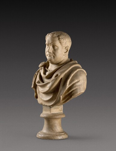 View 2. Thumbnail of Lot 109. A Roman Marble Bust of a Man, circa 2nd Century, with restored head of Vitellius.