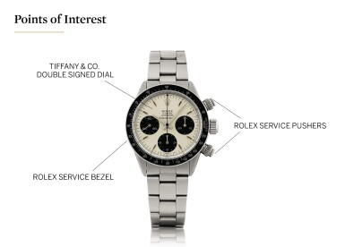 View 5. Thumbnail of Lot 4. ROLEX   DAYTONA, REF 6240 STAINLESS STEEL CHRONOGRAPH WRISTWATCH WITH BRACELET AND LATER TIFFANY DIAL CIRCA 1966.