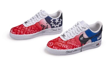 View 2. Thumbnail of Lot 118. Custom Air Force 1, by Opal Lee, Niko Brim, & Sierato in honor of Juneteenth Holiday Campaign, Size 10.5.