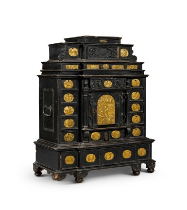 View 5. Thumbnail of Lot 86. A South German gilt-metal mounted, ebonised and carved table cabinet, possibly Augsburg, early 17th century.