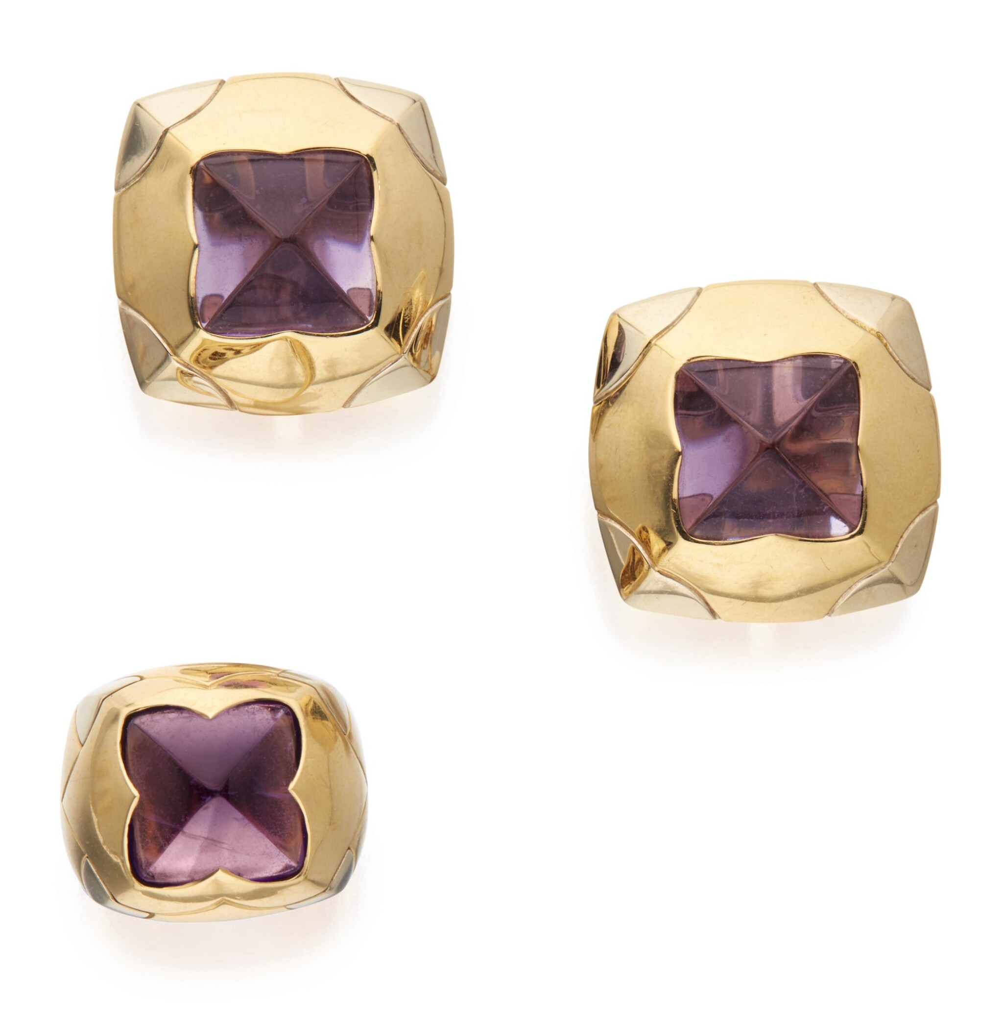View 1 of Lot 309. PAIR OF GOLD AND AMETHYST 'PYRAMID' EARCLIPS AND RING, BULGARI .