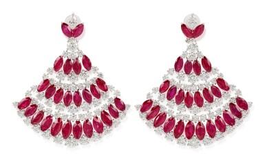 View 2. Thumbnail of Lot 1018. Pair of Ruby and Diamond Earrings | 格拉夫| 紅寶石 配 鑽石 耳墜一對 (紅寶石及鑽石共重約49.20及23.30克拉).