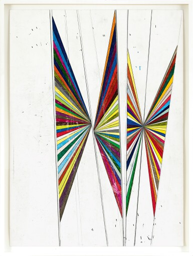View 2. Thumbnail of Lot 528. Mark Grotjahn 馬克・格羅亞恩   Untitled (Colored butterfly white background 4 wings) 無題(彩色蝴蝶白色背景四翅膀).