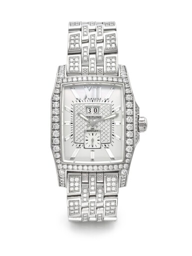 BREITLING | REF J1636263 BENTLEY FLYING B NO. 3, A LIMITED EDITION WHITE GOLD AND DIAMOND SET AUTOMATIC WRISTWATCH WITH DATE BRACELET AND MOTHER OF PEARL INDEXES CIRCA 2008
