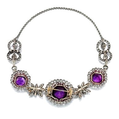 View 4. Thumbnail of Lot 54. Amethyst and diamond necklace, early 19th century.