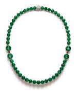 A Fine and Unique Jadeite Bead, Diamond and Ruby Necklace | 【四季平安】天然翡翠珠 配 鑽石 及 紅寶石 項鏈