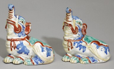 View 1. Thumbnail of Lot 80. A PAIR OF FINE AND RARE KAKIEMON ELEPHANTS, EDO PERIOD, LATE 17TH CENTURY.