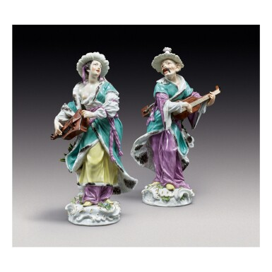 A PAIR OF MEISSEN LARGE FIGURES OF MALABAR MUSICIANS CIRCA 1750