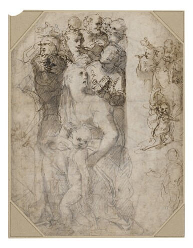 View 1. Thumbnail of Lot 214. Recto: Two groups of figures, studies for the Frangipani Chapel, San Marcello al Corso Verso: Studies for the lunette above the altar in the Frangipani Chapel and an architectural design for a wall decoration.