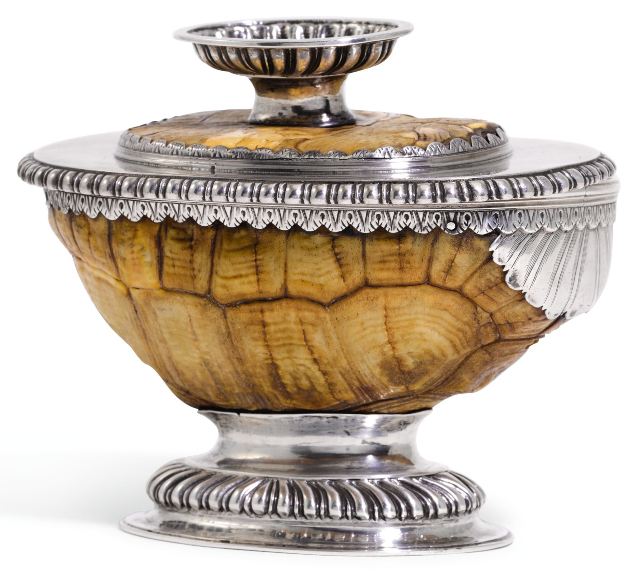 View full screen - View 1 of Lot 110. A SILVER MOUNTED TORTOISE CUP AND COVER/STAND, POSSIBLY SCOTTISH, CIRCA 1690.