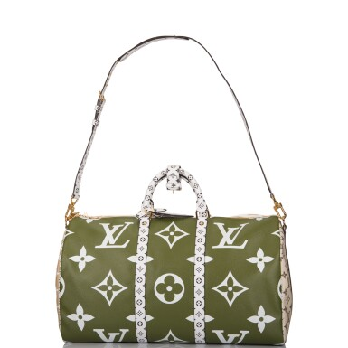 View 7. Thumbnail of Lot 121. Louis Vuitton Khaki Green Keepall Bandoulière 50 of Giant Monogram Canvas with Polished Brass Hardware .