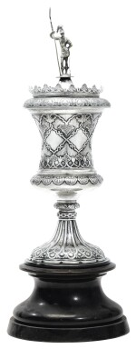 A CHINESE EXPORT SILVER PRESENTATION CUP AND COVER, KHE CHEONG, CANTON, CIRCA 1850
