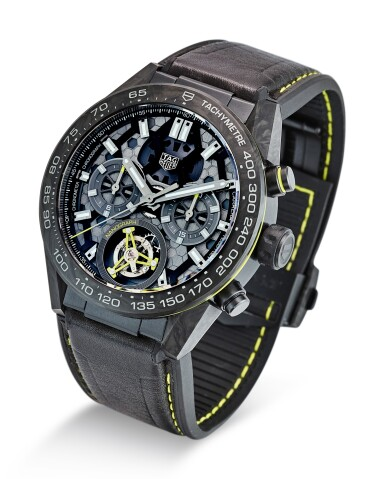 TAG HEUER   CARRERA, REFERENCE CAR5A8K.FT6172 A LIMITED EDITION PVD-COATED TITANIUM AND CARBON TOURBILLON CHRONOGRAPH WRISTWATCH, CIRCA 2019
