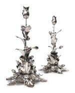 A PAIR OF TALL ITALIAN SILVER CANDLESTICKS, FLORENCE, SECOND HALF 20TH CENTURY