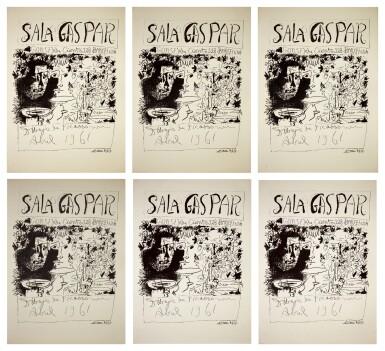 PABLO PICASSO | SIX WORKS: AFFICHE BARCELONE, AVRIL 1961 - TROIS BUVEURS (B. 1294; M. 340)