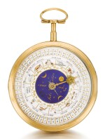 A GOLD DOUBLE DIALLED ASTRONOMICAL WATCH WITH DATE, SIGNS OF THE ZODIAC, LENGTH OF DAY AND MOON PHASES CIRCA 1800 [ 法國製黃金雙錶盤天文懷錶,備日期、星座、晝長及月相顯示,年份約1880]