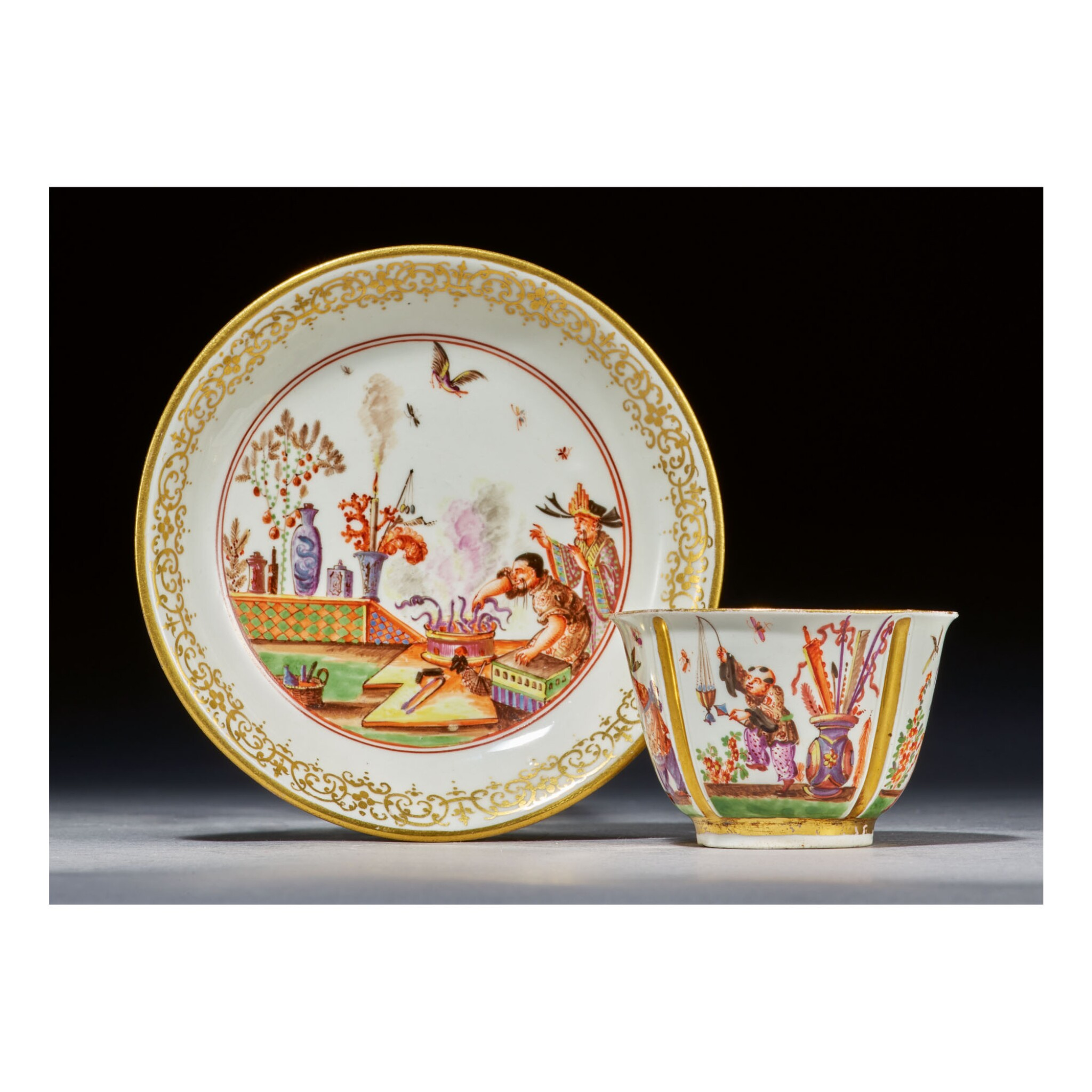 View full screen - View 1 of Lot 333. A MEISSEN CHINOISERIE TEABOWL AND SAUCER CIRCA 1723.