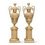 A Pair of Restauration Gilt Bronze Vases, 19th Century