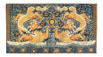Grande tenture rectangulaire en soie brodée Dynastie Qing, XIXE siècle | 清十九世紀 藍緞繡雙龍趕珠紋掛幅 | A very large blue-ground gold-thread 'dragon' imperial wall hanging, Qing Dynasty, 19th century