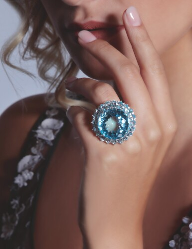 View 4. Thumbnail of Lot 22. BLUE TOPAZ AND DIAMOND RING, MICHELE DELLA VALLE.