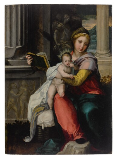 View 1. Thumbnail of Lot 565. Madonna and Child with a book.