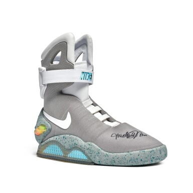 View 2. Thumbnail of Lot 1. Nike MAG 'Back to the Future' | 2011 | Dual Signed by Michael J. Fox.