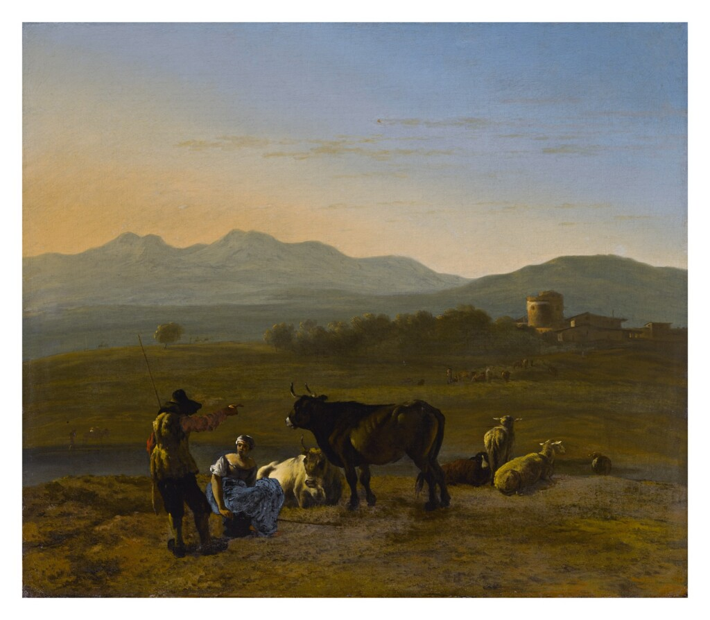 KAREL DUJARDIN     AN EXTENSIVE LANDSCAPE IN THE ROMAN CAMPAGNA WITH CATTLE AND SHEPHERDS