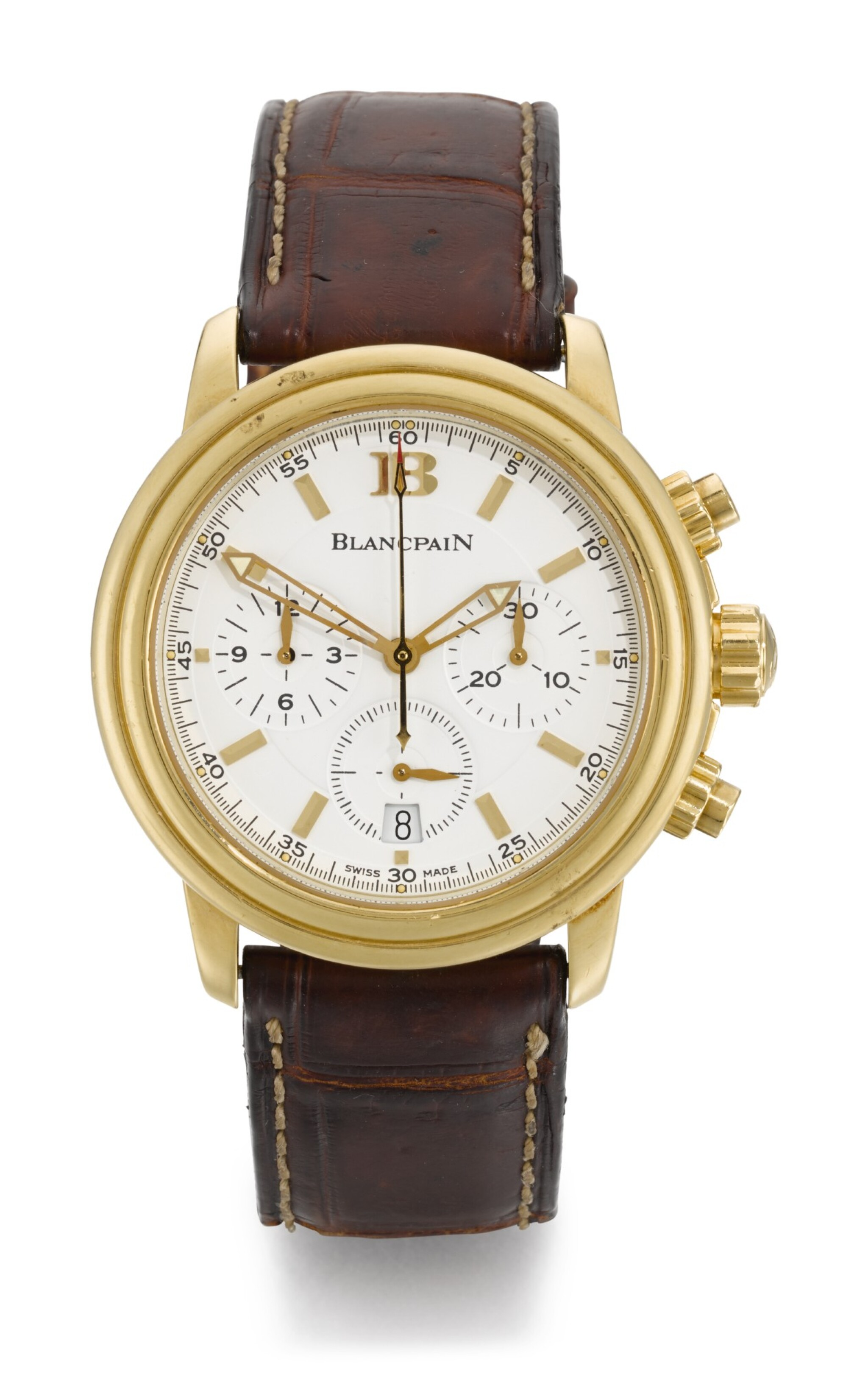 View full screen - View 1 of Lot 13. BLANCPAIN | LÉMAN CHRONO, REFERENCE 2185-1418-53, YELLOW GOLD CHRONOGRAPH WRISTWATCH WITH DATE, CIRCA 2008.