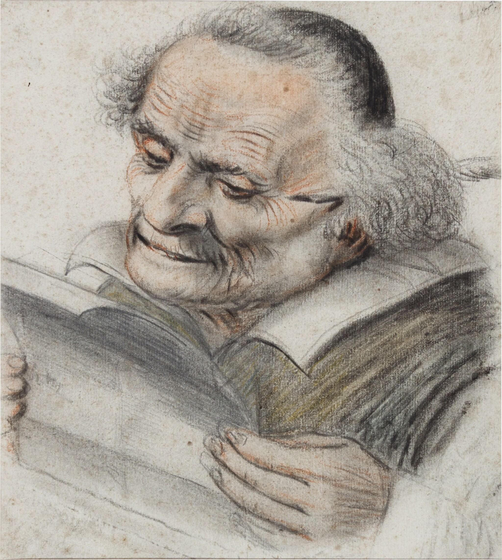 View full screen - View 1 of Lot 24. A cleric reading a letter, a quill behind his ear.