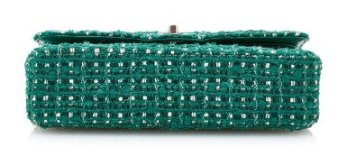 View 4. Thumbnail of Lot 85. GREEN AND WHITE TWEED JACKET AND MATCHING TWEED AND LEATHER CLASSIC SHOULDER BAG, CHANEL.