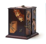 A FRENCH SMALL ROSEWOOD, MARQUETRY AND COPPER CABINET BY SORMANI, PARIS, CIRCA 1878 | PETIT CABINET EN PLACAGE DE PALISSANDRE, MARQUETERIE ET CUIVRE, PARIS, VERS 1878, PAR LA MAISON SORMANI