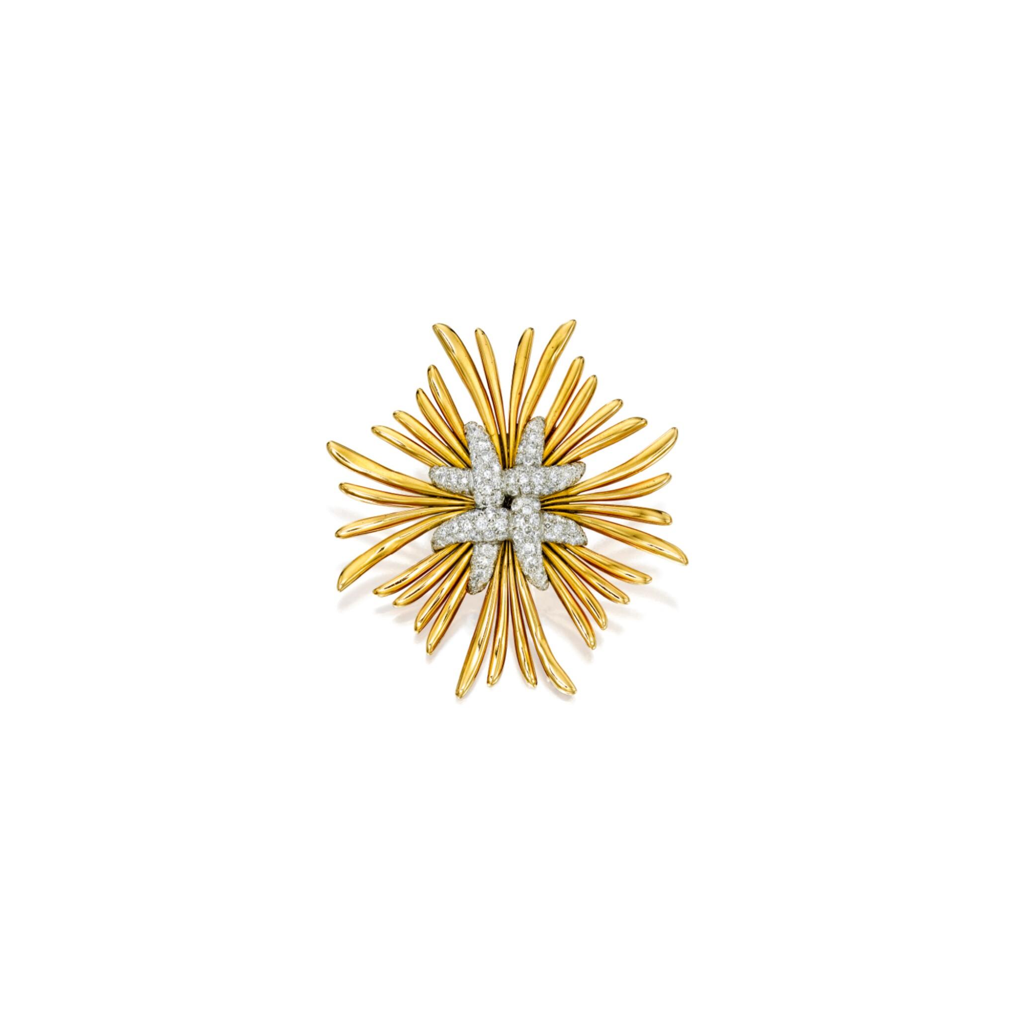 View 1 of Lot 600. GOLD, PLATINUM AND DIAMOND BROOCH, VERDURA | 黃金及鉑金鑲鑽石別針,Verdura.
