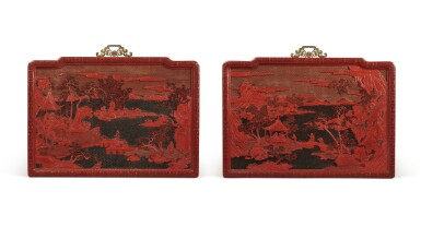 View 1. Thumbnail of Lot 63. An exceptional pair of carved three-color lacquer 'landscape' panels, Qing dynasty, Qianlong period | 清乾隆 剔彩山水高士圖掛屏一對.