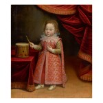TIBERIO TITI | PORTRAIT OF A YOUNG BOY WEARING AN ELABORATE RED DRESS, STANDING NEAR A DRUM IN AN INTERIOR