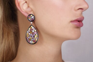 View 5. Thumbnail of Lot 10. Gem set and diamond pendent earrings, Michele della Valle.