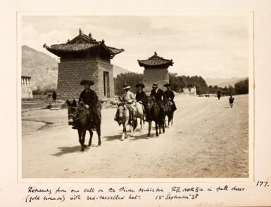 View 3. Thumbnail of Lot 182. Tibet—Shepheard and Jack | Two albums of photographs of Tibet, 1938, with diary transcript and related material.