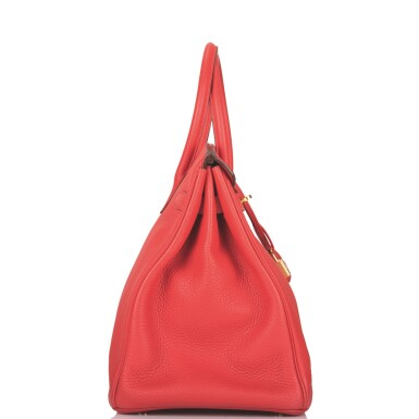 Hermès Rouge Pivoine Birkin 35cm of Clemence Leather with Gold Hardware