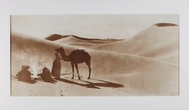 LEHNERT AND LANDROCK | Four large-format panorama photographs of desert scenes of travellersand camels.
