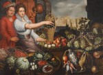 FOLLOWER OF JOACHIM BEUCKELAER | A market stall of fruit, vegetables and game, with a man holding a jug and a maid holding a basket